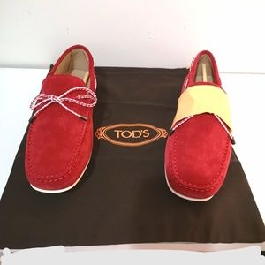 Tod's Braided-Tie Suede Drivers Red loafers 6.5M